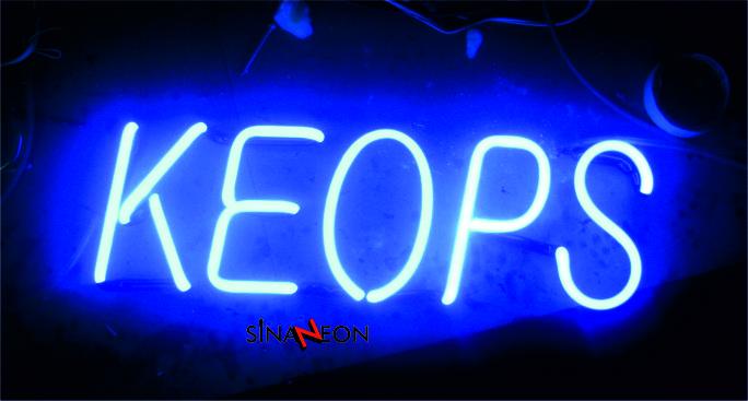 neon tabela yapımı - sinan neon - mavi keops yazı