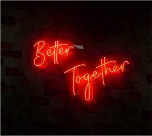 süper bir better together neon sign