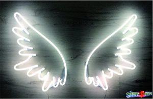 harika bir melek kanadı cam neon