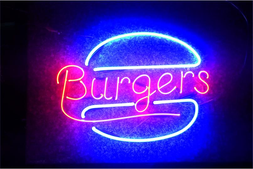 burger neon yazı imalatı